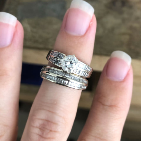 before engagement ring and wedding band with baguette diamonds