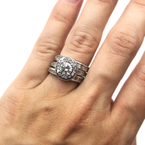 engagement ring big diamond halo wedding band with baguettes