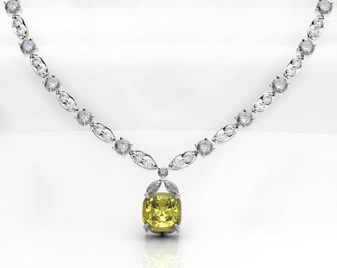 yellow and white diamond platinum necklace Lady Gaga Oscar Tiffany