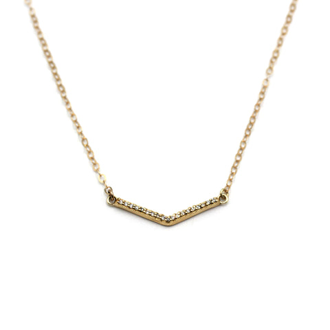 Diamond V chain necklace in gold