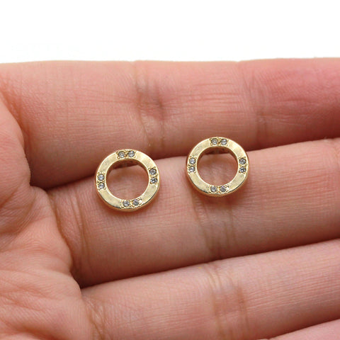 gold circle earrings with tiny diamonds post earrings