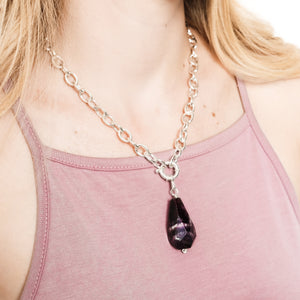 Amethyst and Silver Chunky Chain Necklace