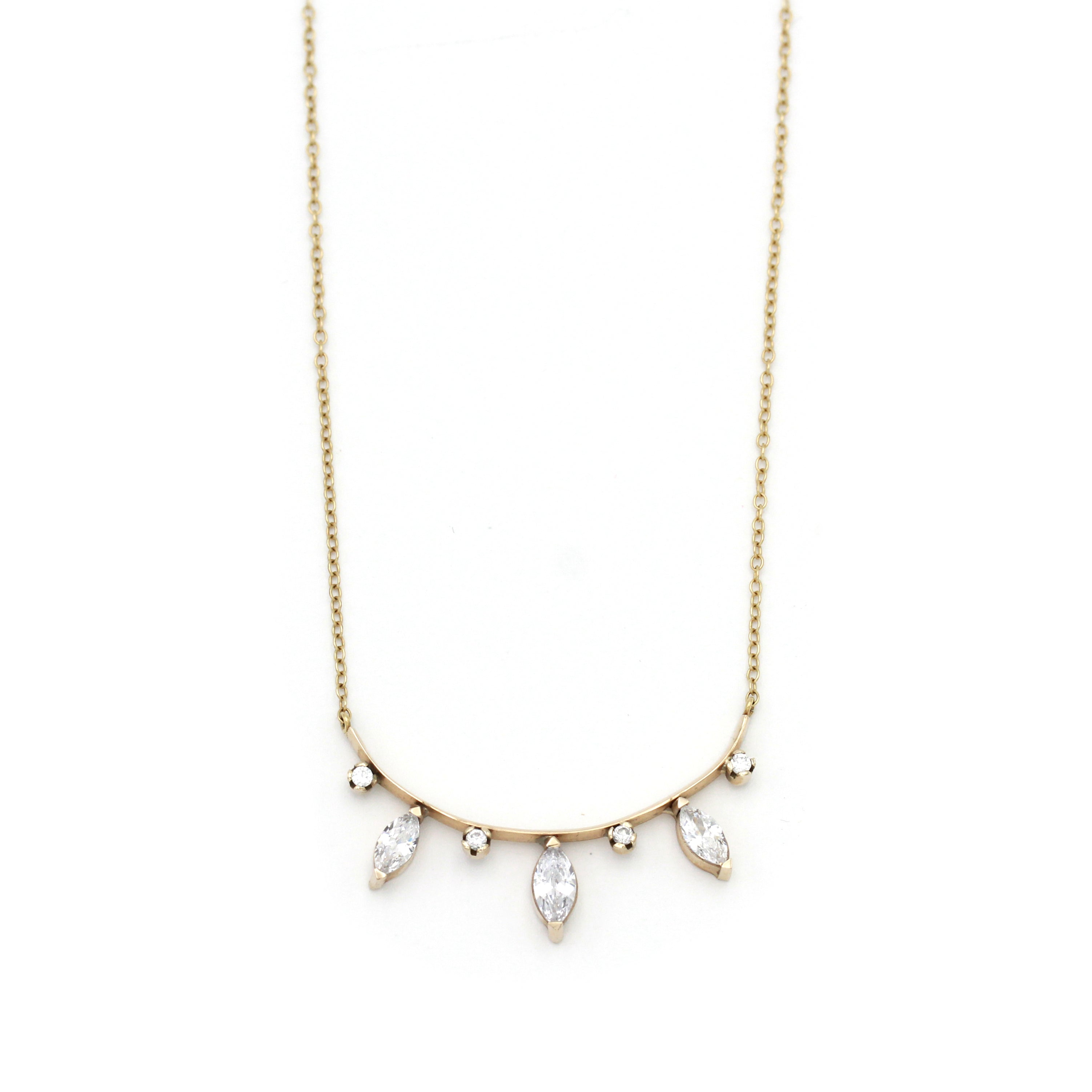 Gold Arch with Marquise Natural Zircon Necklace