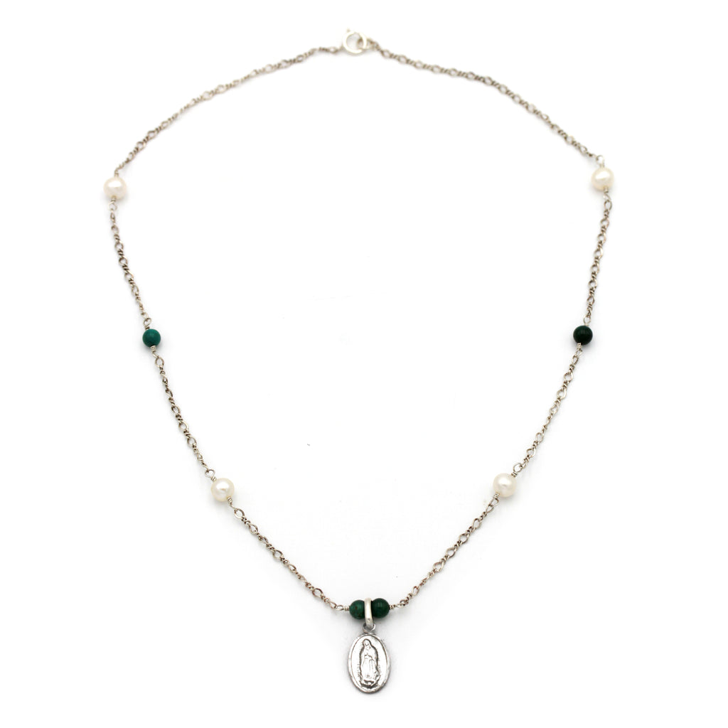 Virgin of Guadalupe with Turquoise and Pearl Silver Necklace