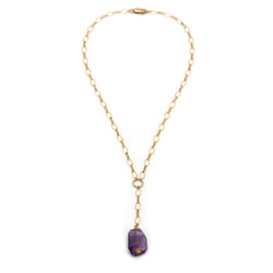 Amethyst nugget with Gold necklace