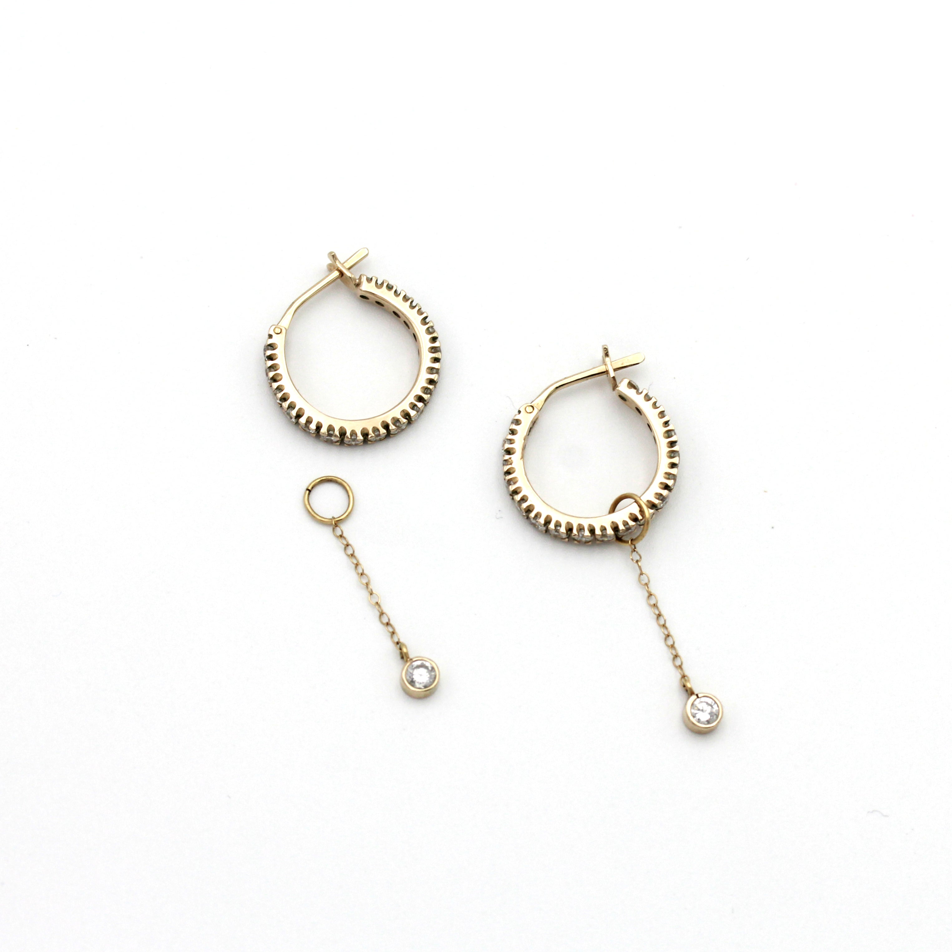 Gold and Natural Zircon Hoop Earrings with removable drop