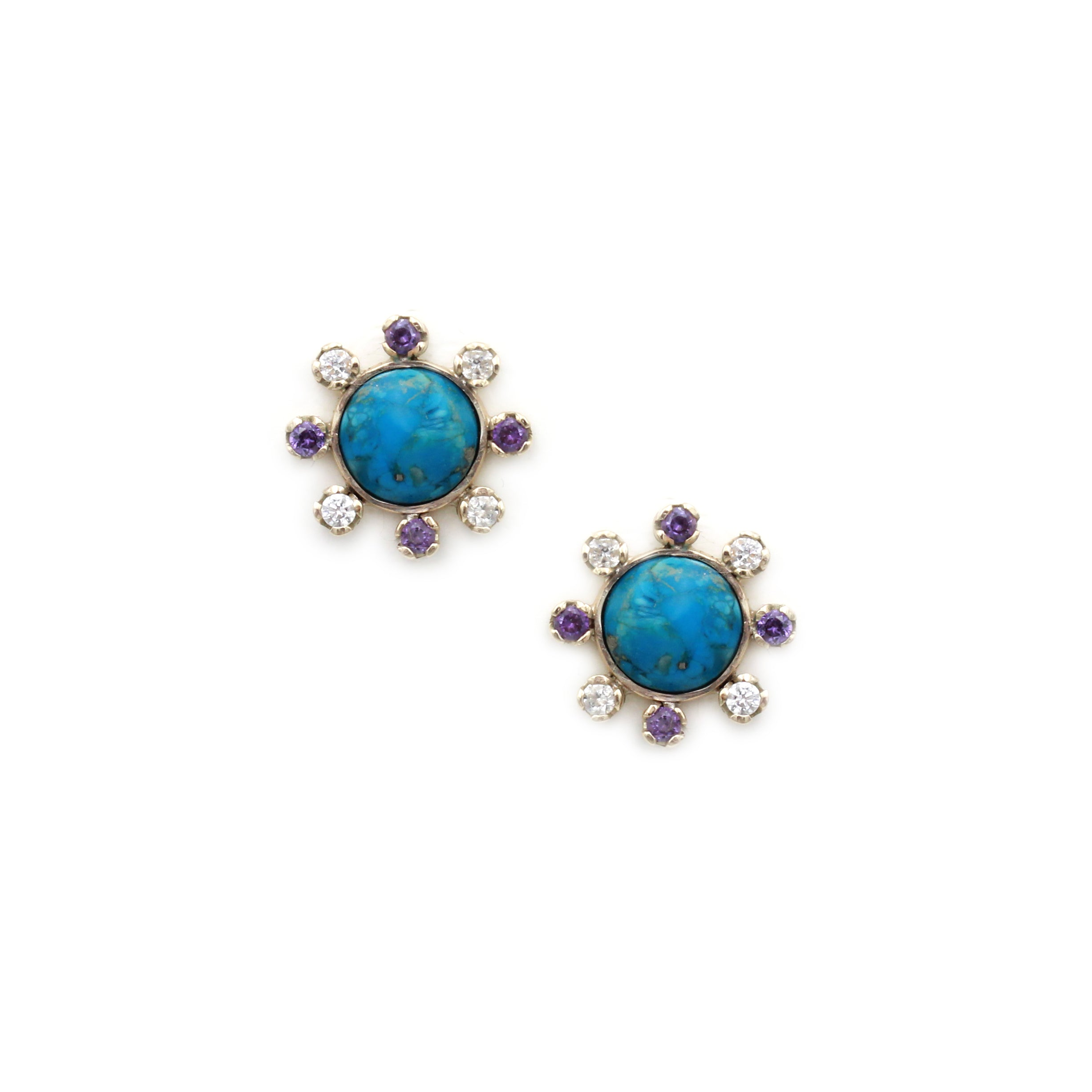 Turquoise, Amethyst and Zircon Gold Earrings