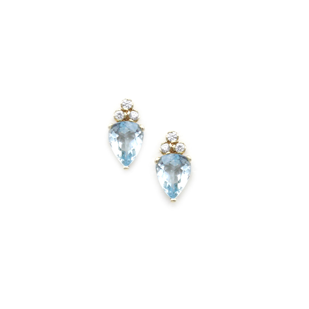 Aquamarine and Natural Zircon Gold Earrings