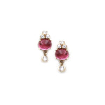 Pink Tourmaline and Zircon Gold Earrings