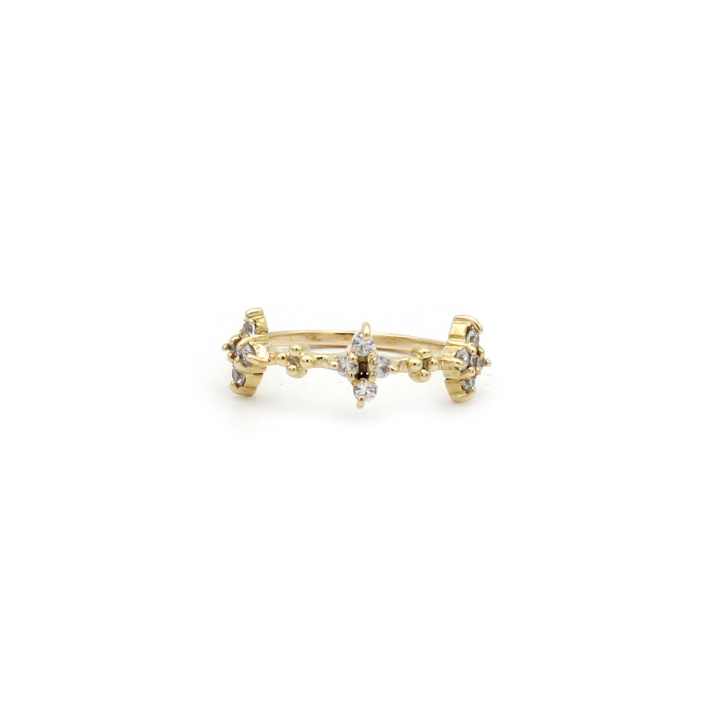 Tiny White clusters Gold Ring