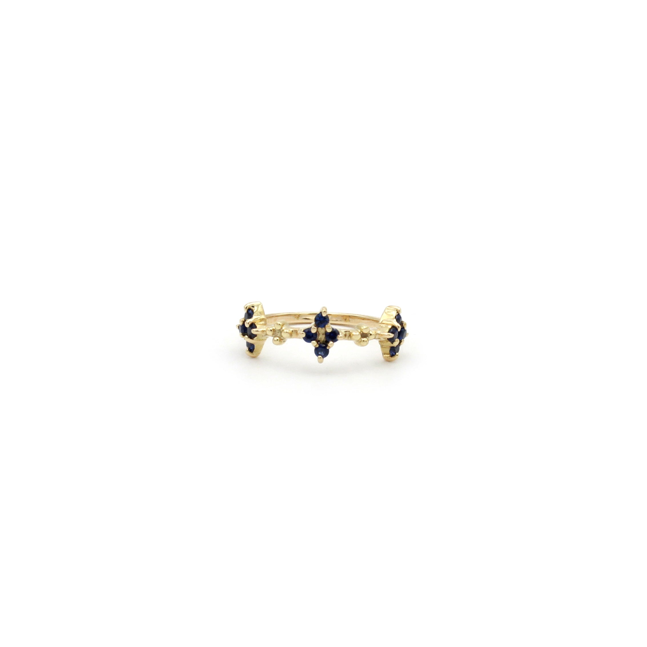Tiny Sapphire clusters Gold Ring