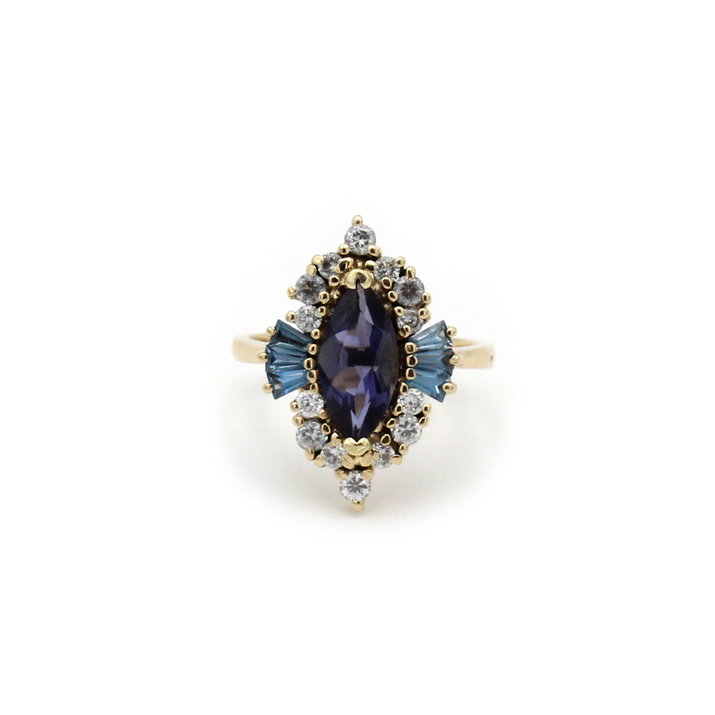Iolite, Aquamarine and Zircon Gold ring