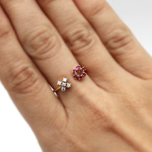 XO Gold Ring with Rubies and Natural Zircon