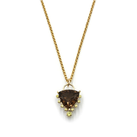 smoky quartz talisman in 14k gold