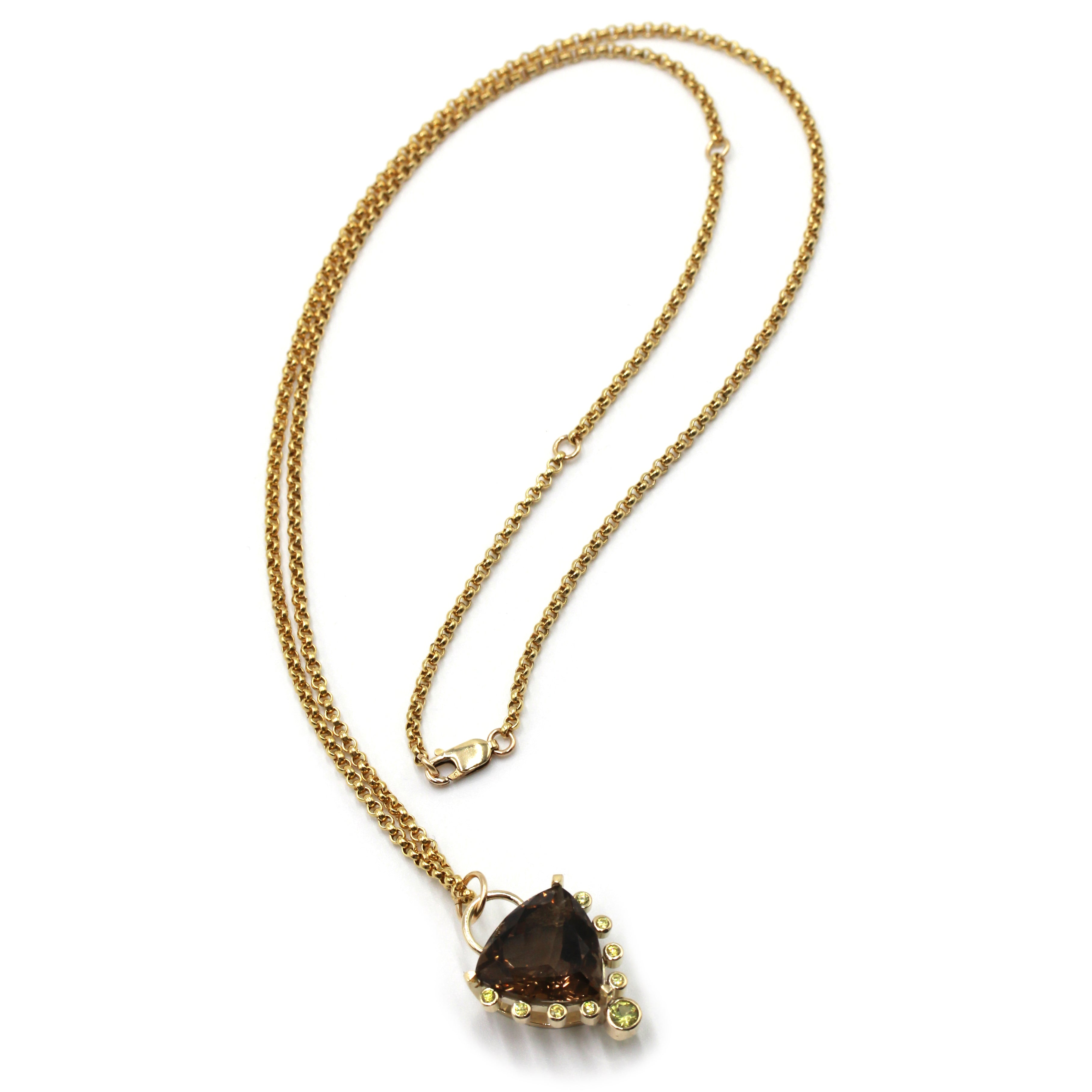 Smoky Quartz Gold Talisman Necklace