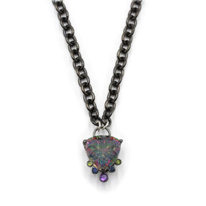 Mystic Quartz Talisman Necklace in Black Gold with Amethyst, Sapphire and Peridot