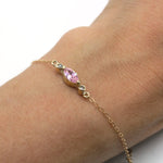 Pink Sapphire and Diamond Delicate Gold chain Bracelet