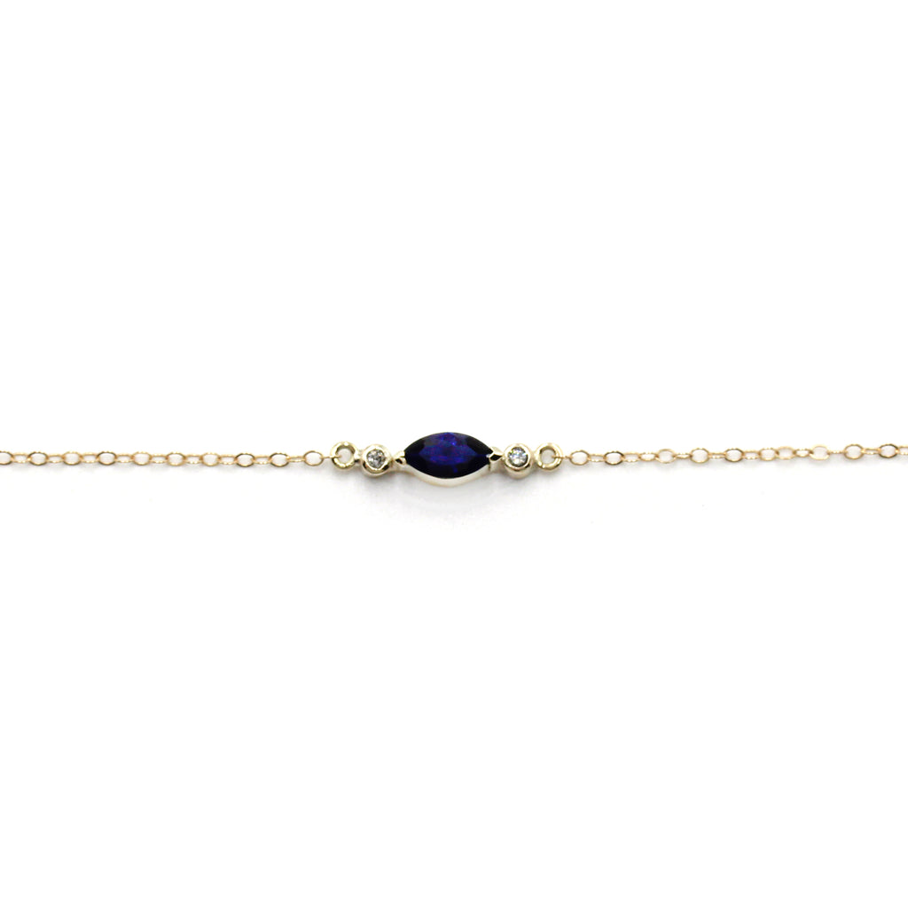Sapphire and Diamond Delicate Gold chain Bracelet