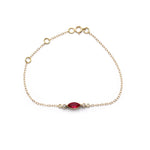 Ruby and Diamond delicate Gold chain bracelet