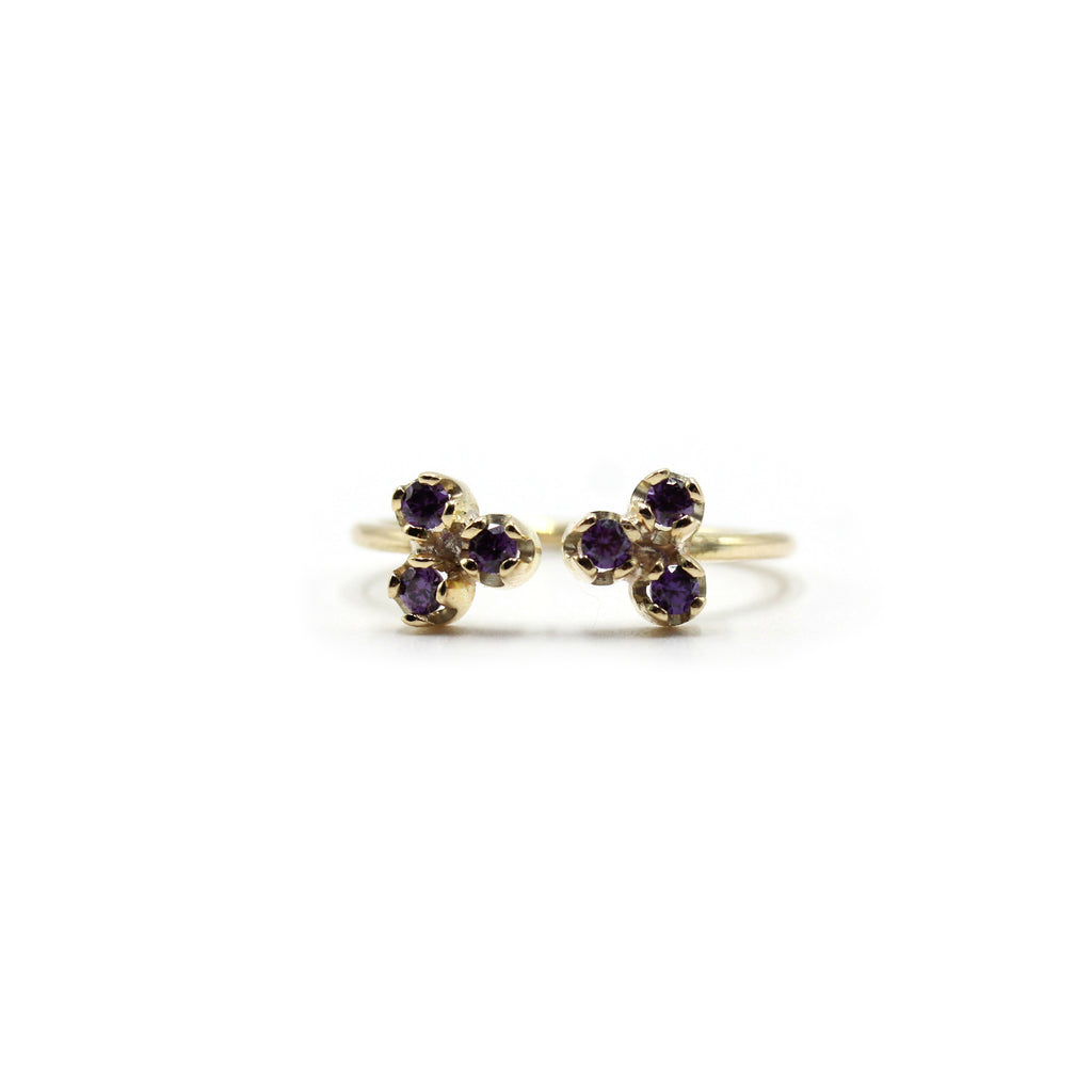 Duo Amethyst and Gold Ring