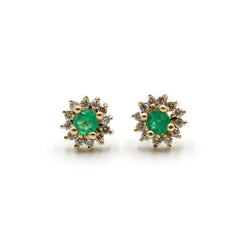 Round Emerald Earring with Diamond Halo in 18k Gold
