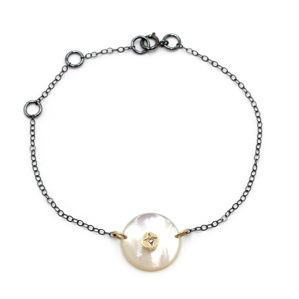 Mother of Pearl and Gold Dot with Natural Zircon Bracelet