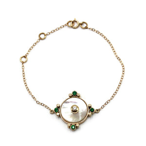 Mother of Pearl Talisman Bracelet with bezeled emeraldine