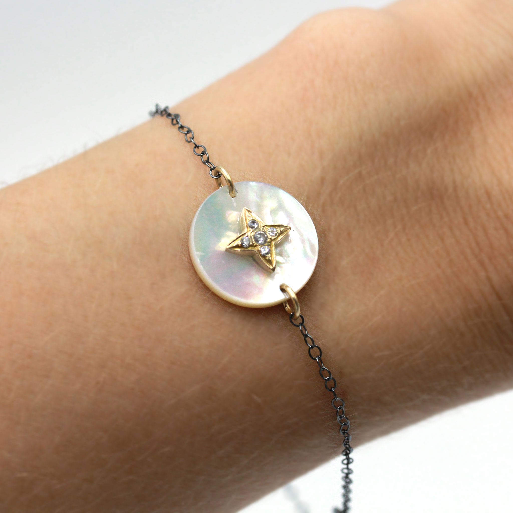 Mother of Pearl and Gold Star with Natural Zircon Bracelet