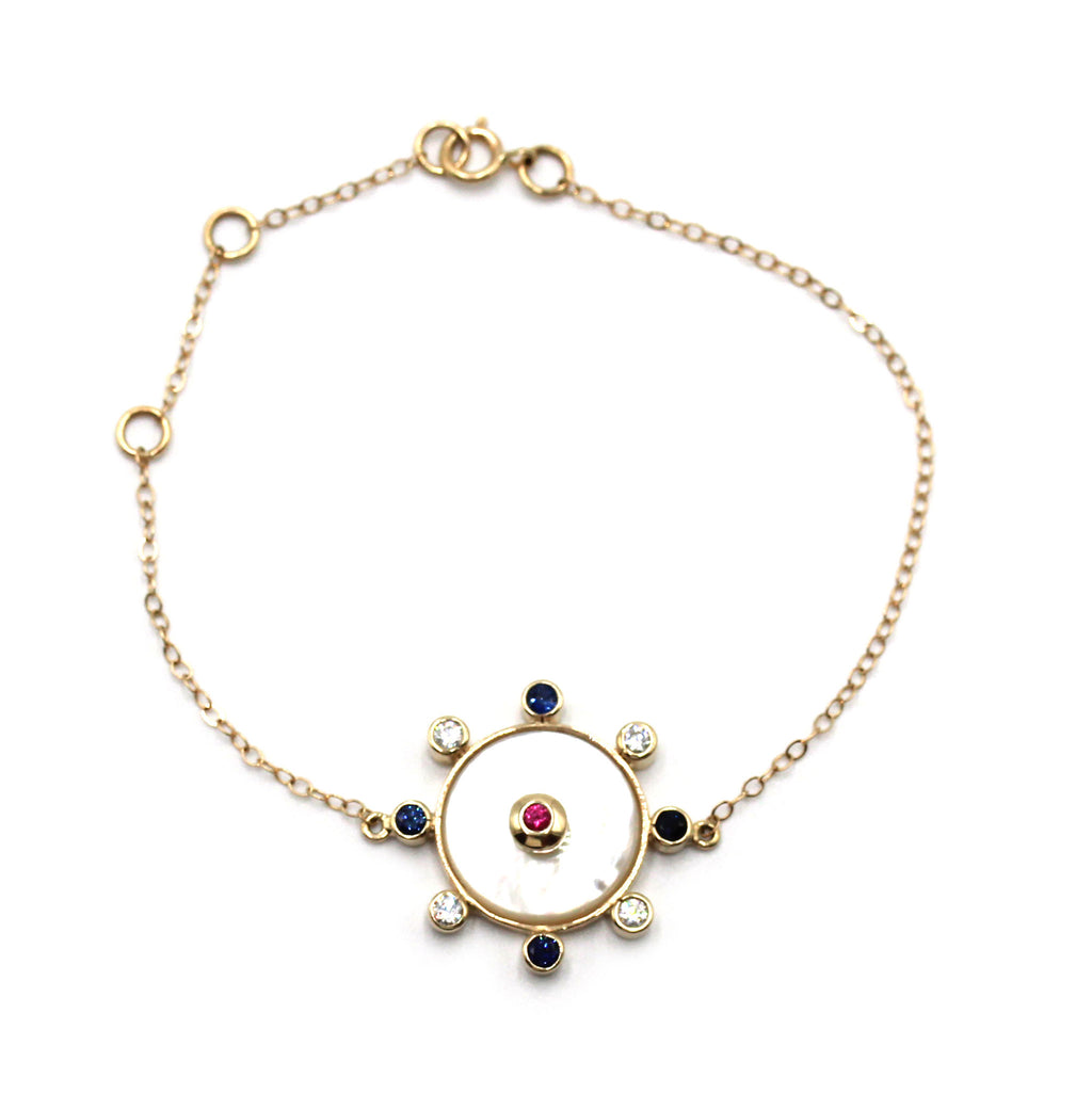 Mother of Pearl Talisman Bracelet with gold Bezeled sapphire and ruby