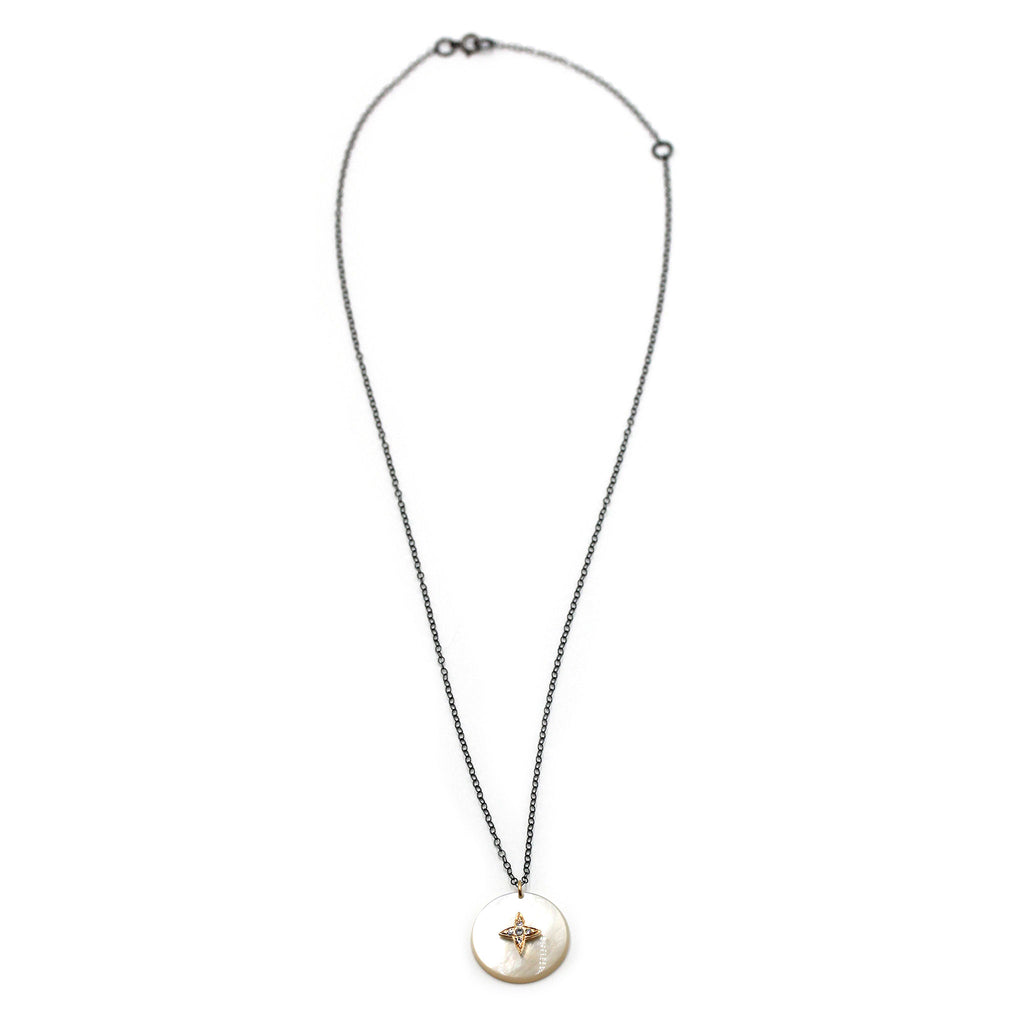 Mother of Pearl with Gold Star Pendant and Natural Zircon Necklace
