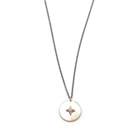 Mother of Pearl necklace with gold star and black sterling silver chain