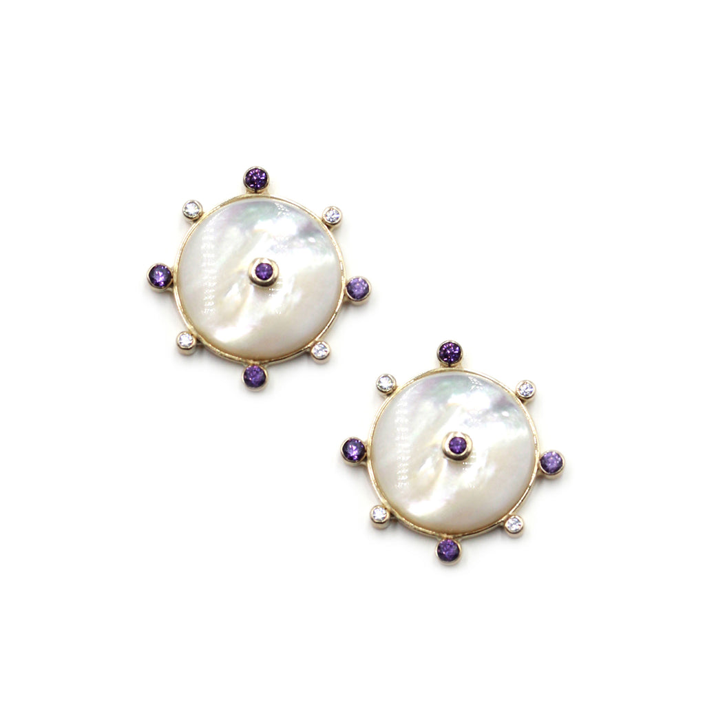 Talisman Earrings in Mother of Pearl with Amethyst, natural zircon and gold