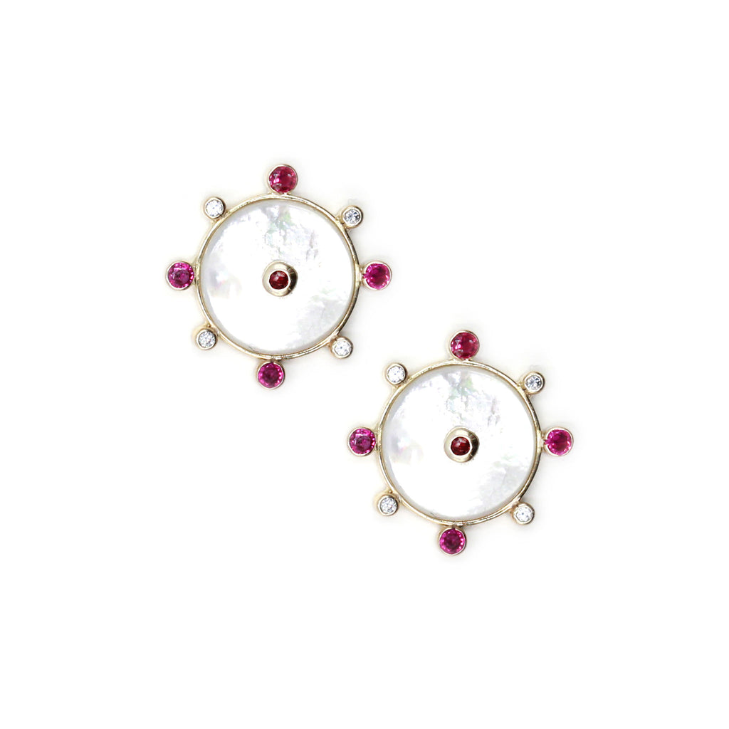 Talisman earrings with Mother of Pearl Ruby and natural zircon in gold