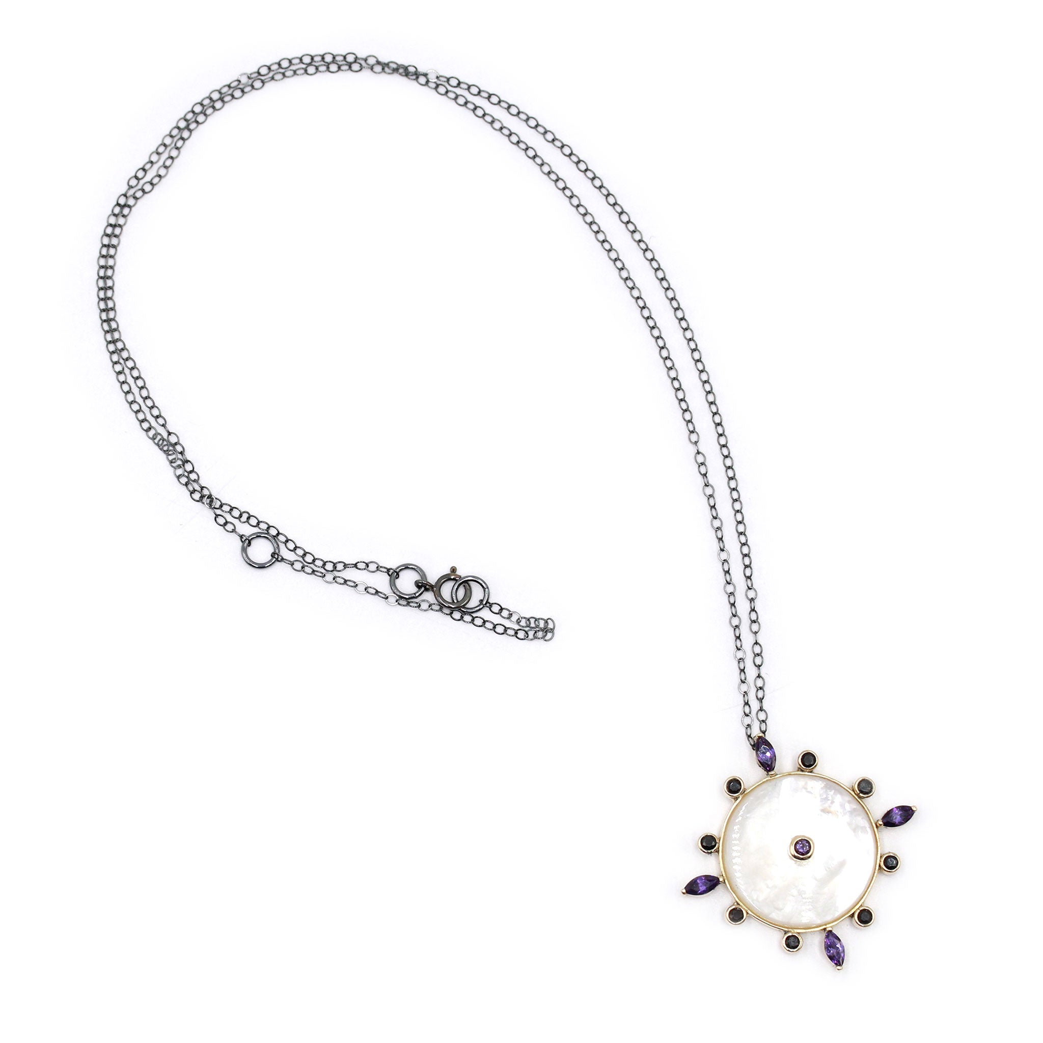 Talisman necklace with Mother of Pearl, Amethysts and Black diamonds in gold14k