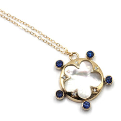 Talisman Mother of Pearl Necklace with sapphire and natural zircon in gold