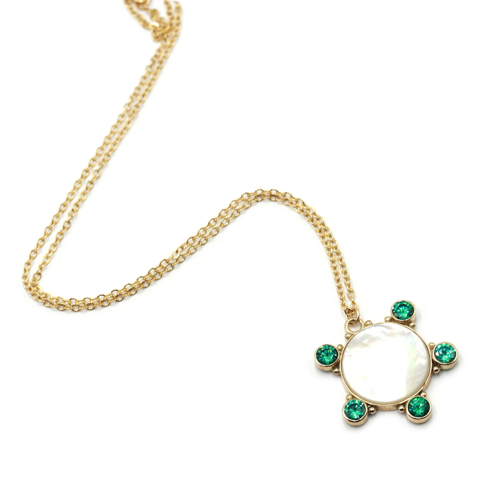 Talisman Necklace with Mother of Pearl, Paraiba Tourmaline in gold