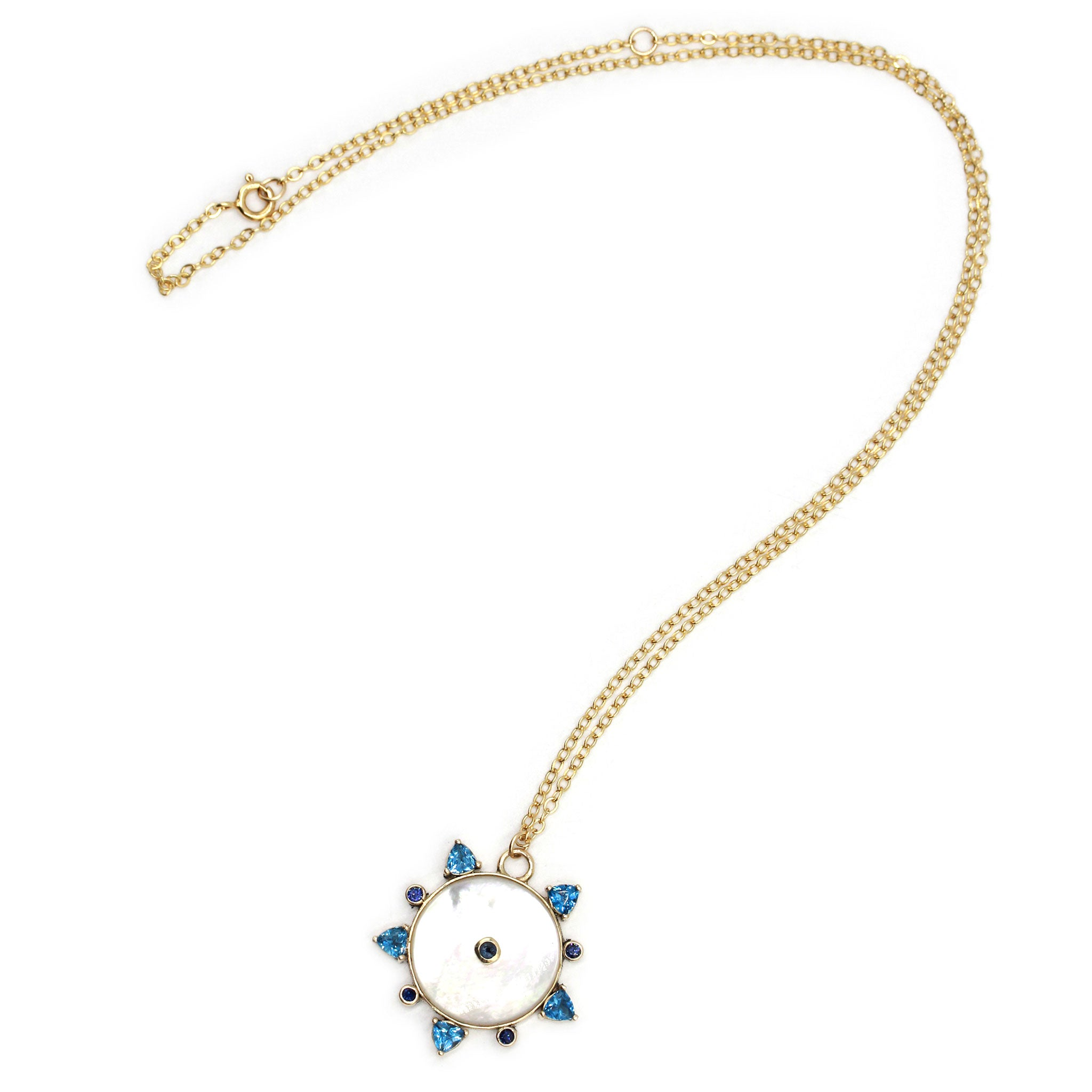 Talisman Necklace in Mother of Pearl with Blue Topaz and Sapphire in gold