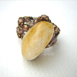 Big Stone Bead-woven band Jewelry Tutorial