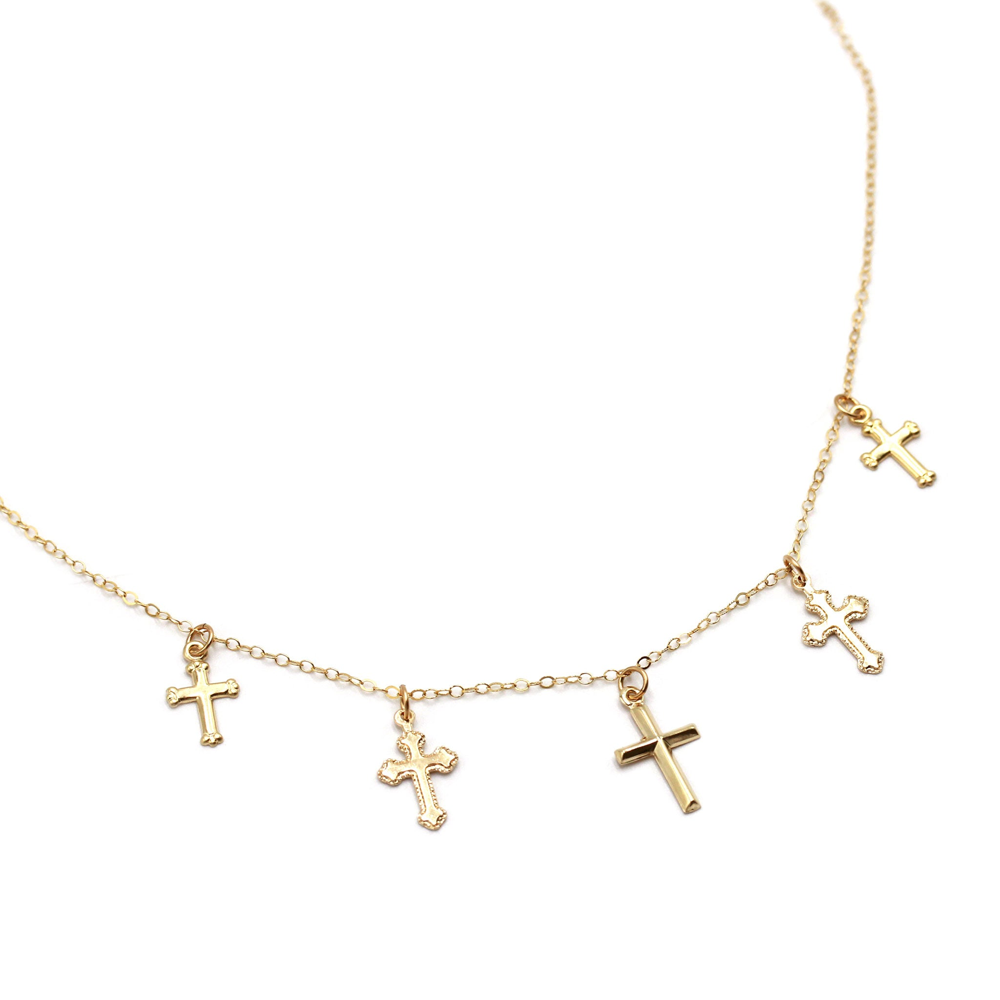 Mixed Gold Crucifix necklace