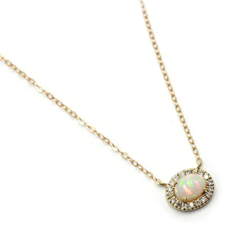 opal chain necklace with diamonds