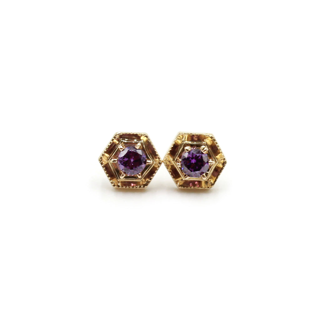 Hexagon and Amethyst gold earrings