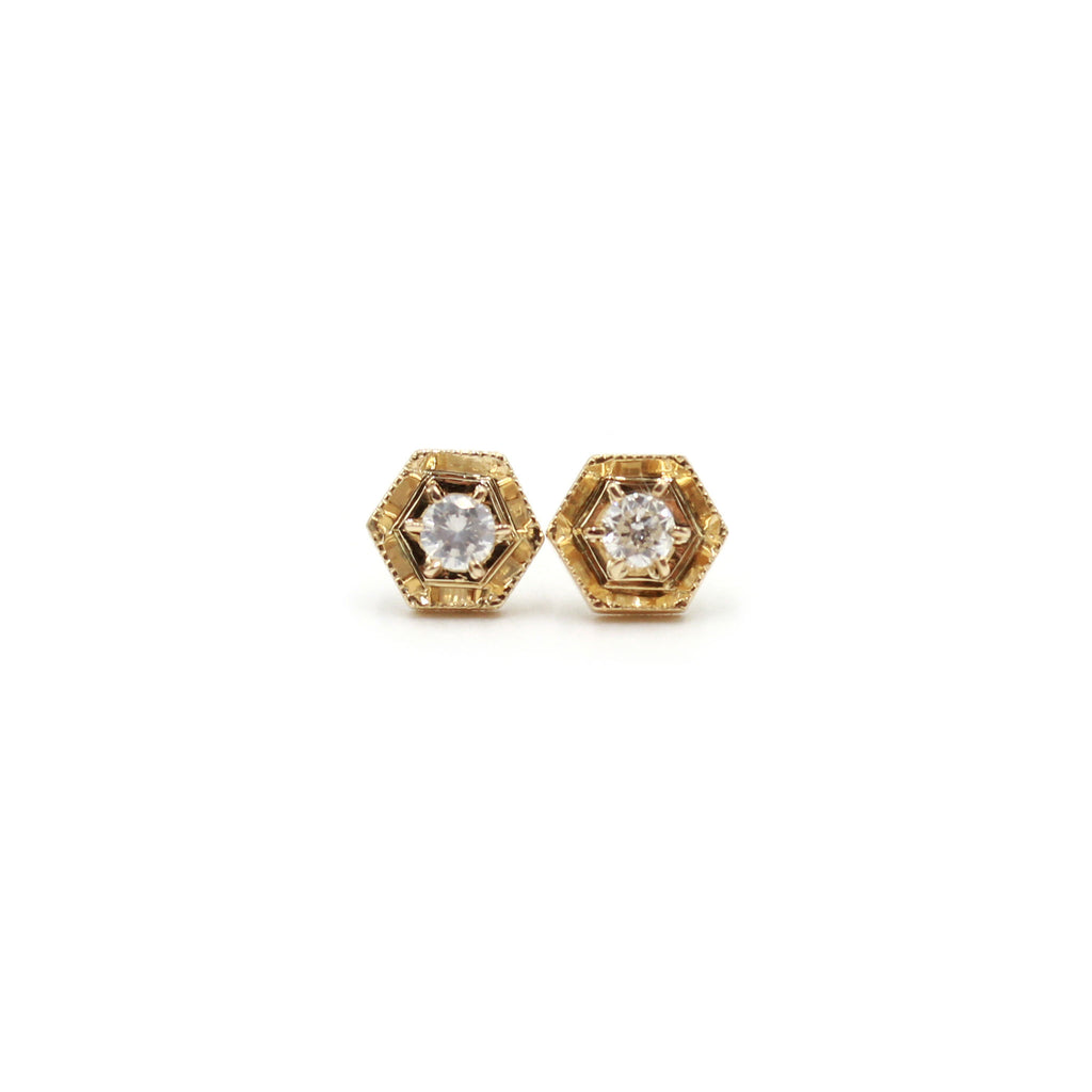 Hexagon and Diamond gold earrings