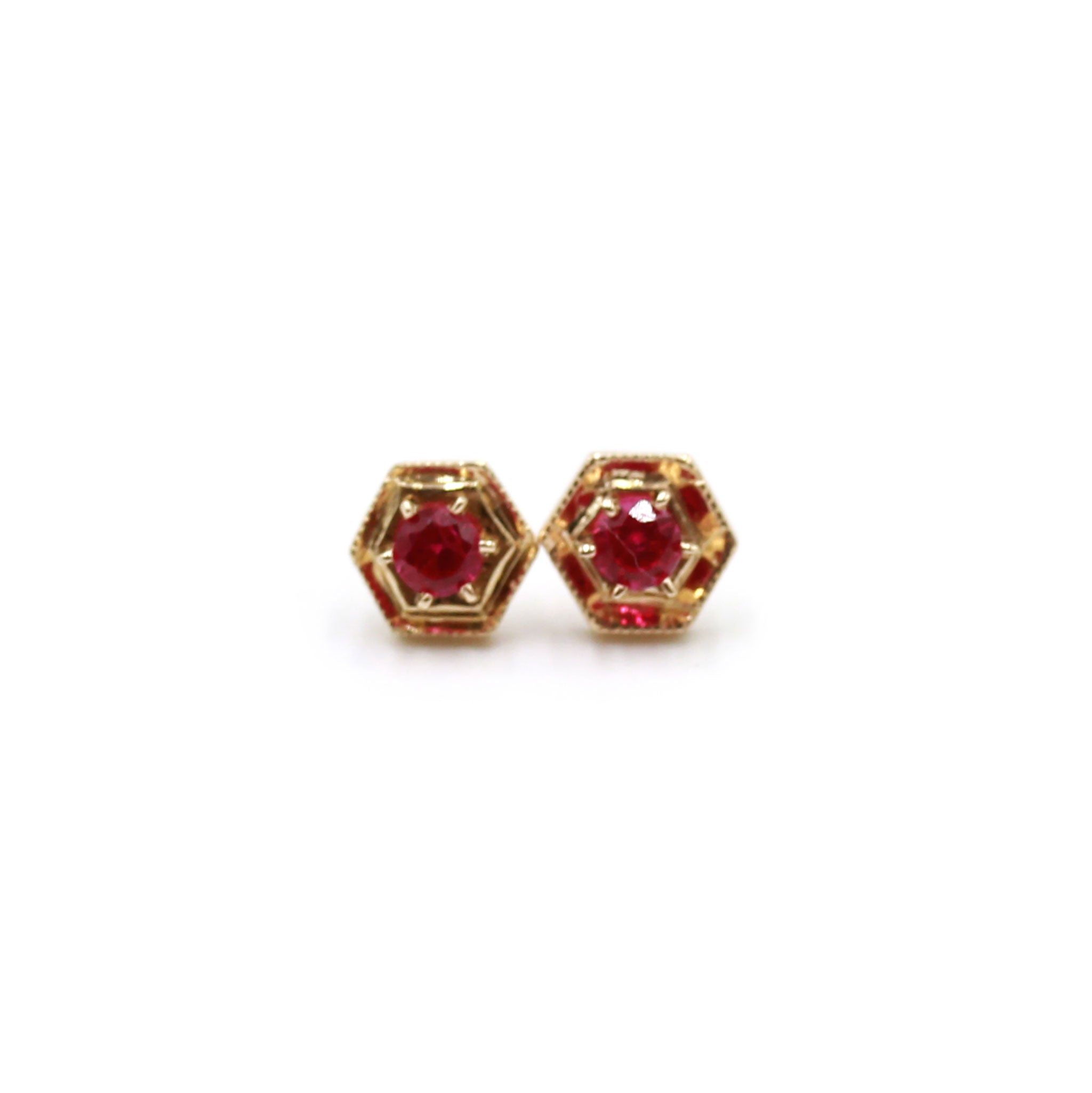 Hexagon and Ruby gold earrings