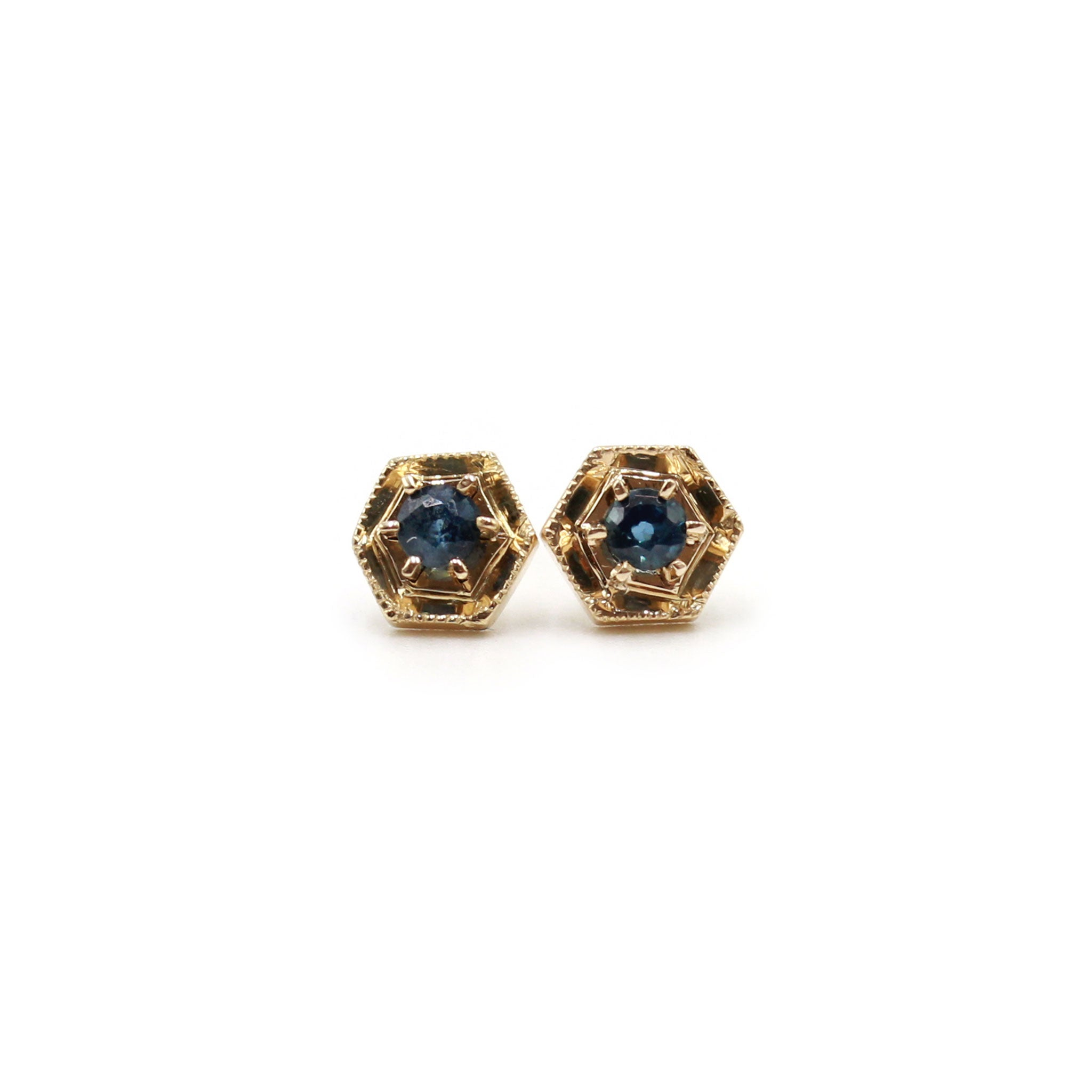 Hexagon and Sapphire gold earrings