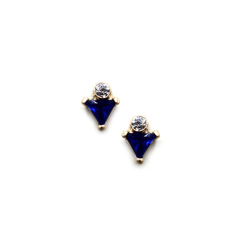 Gold earrings with sapphires