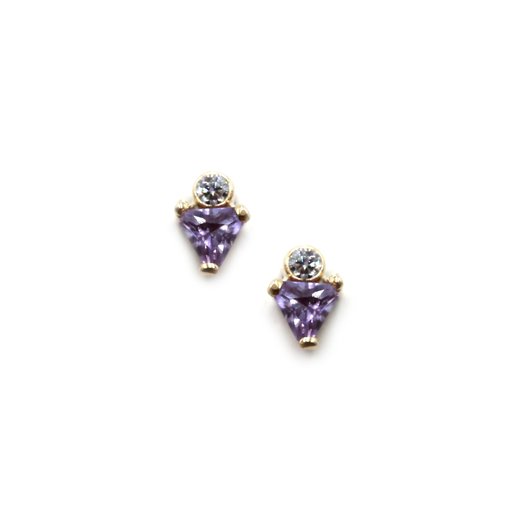 Dot Triangle Earrings with Amethyst