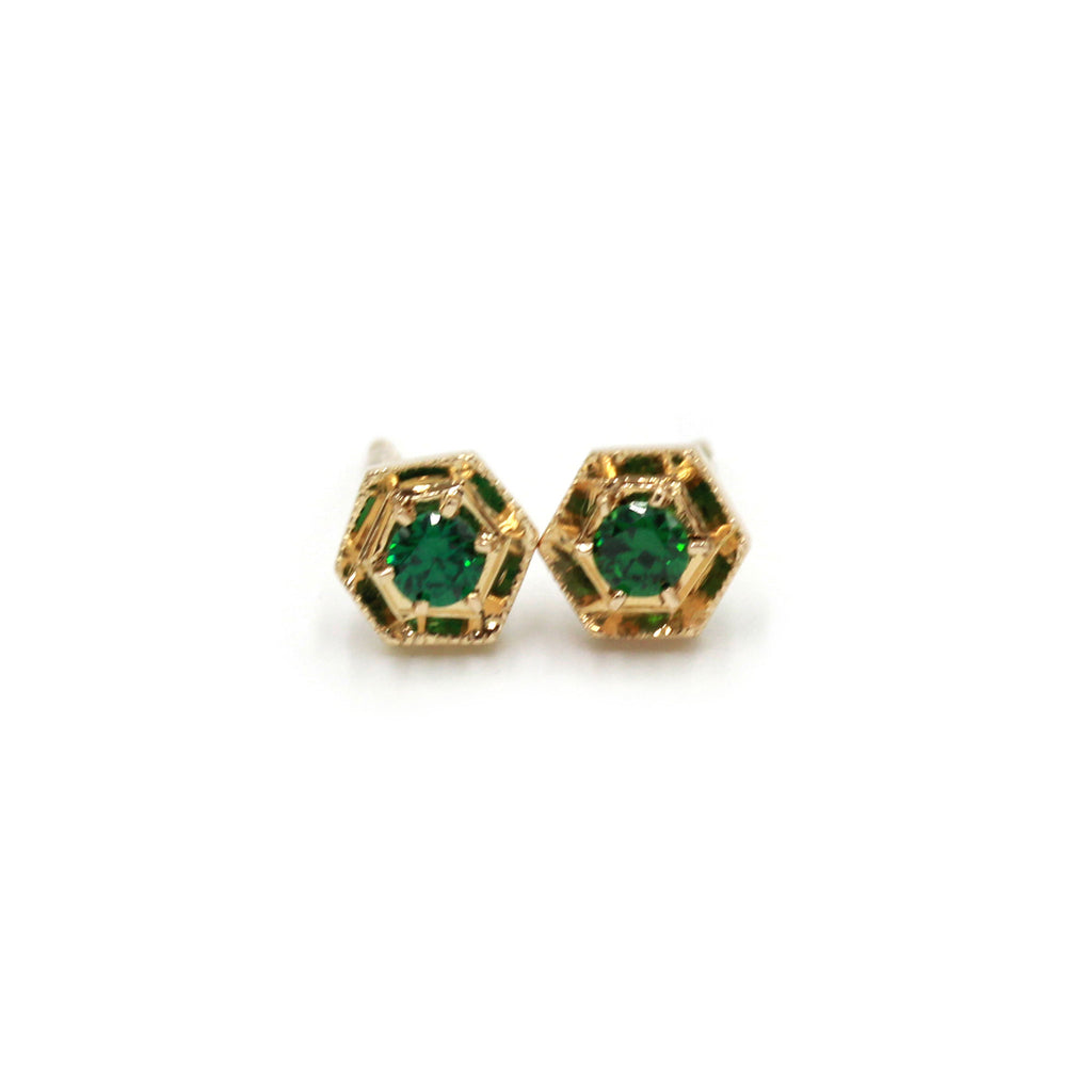 Hexagon and Emeraldine gold earrings