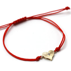 Heart and Diamond Bracelet in 14k Gold and Red Cord
