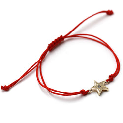 Star and Diamond Bracelet in 14k Gold and Red Cord