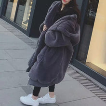 Load image into Gallery viewer, Faux Fur Winter Coat with Large Hood